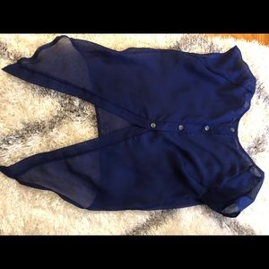 Urban Outfitters Tops - Sheer blue top with tuxedo back